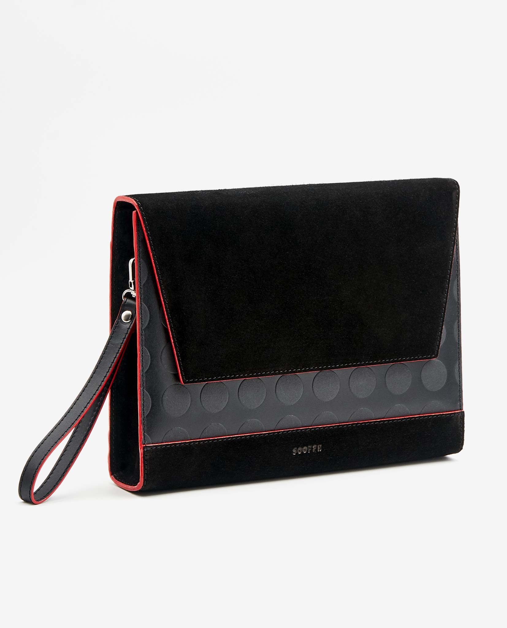 SOOFRE Berlin unique Clutch dotted black red
