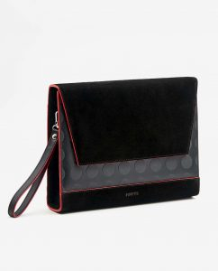 SOOFRE-Berlin-unique-Clutch-dotted-black-red-SIDES
