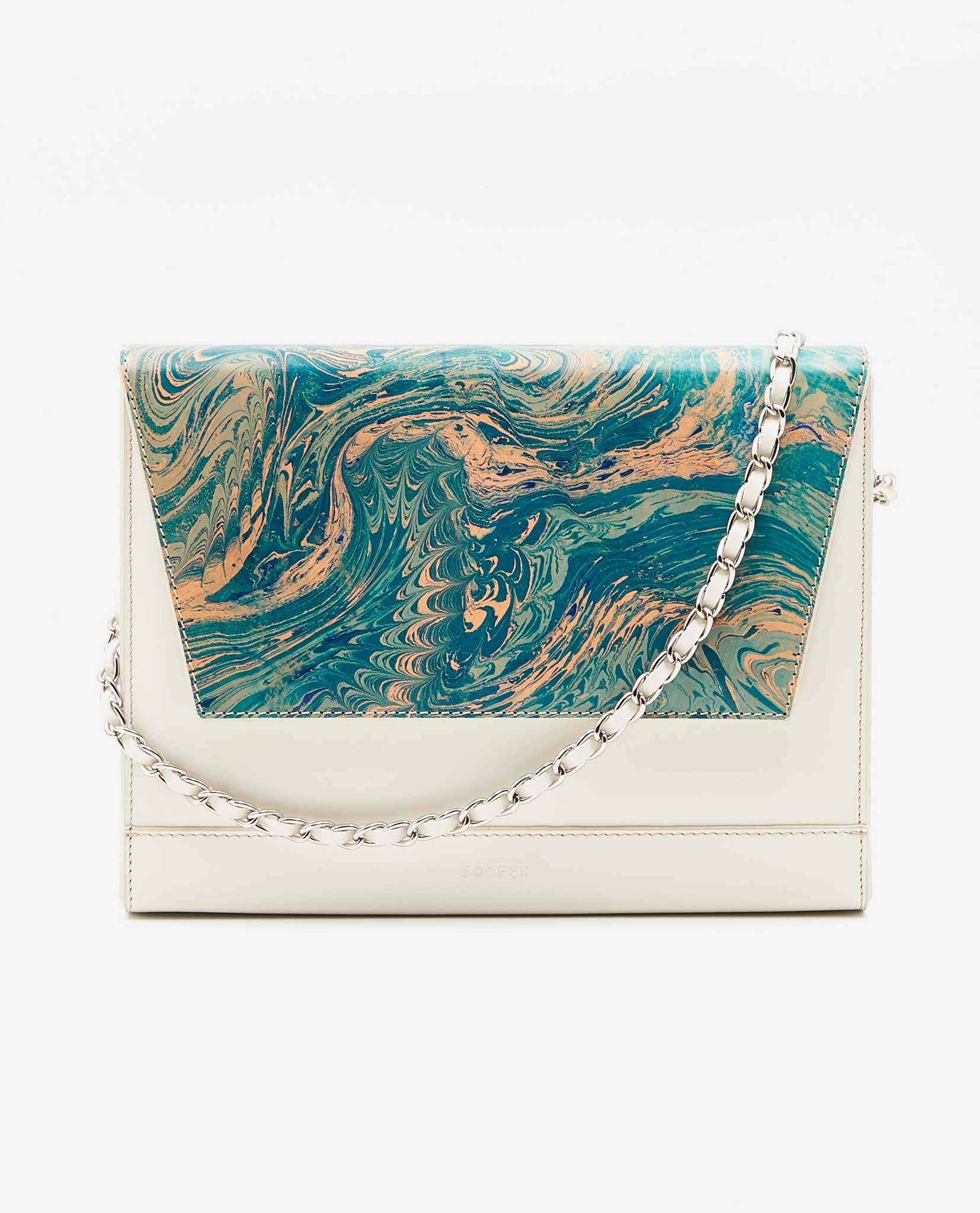 SOOFRE-Berlin-unique-Clutch-marble-turquoise-ivory-FRONT