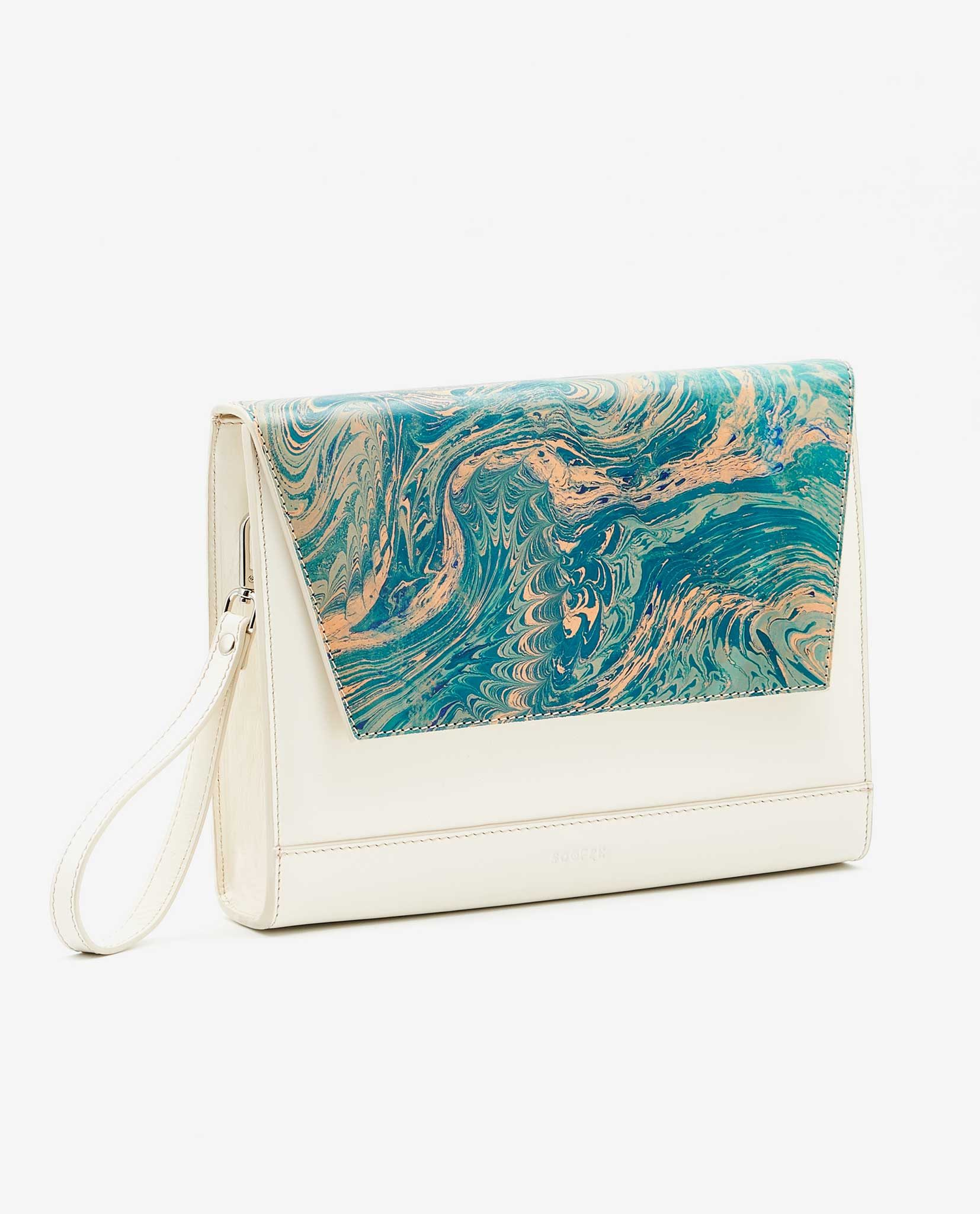 SOOFRE Berlin unique Clutch marble turquoise ivory