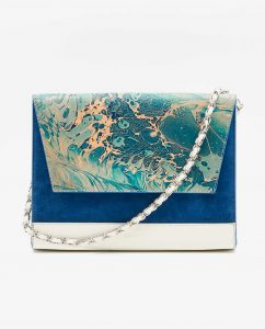 SOOFRE-Berlin-unique-Clutch-marble-turquoise-sapphire-blue-ivory-FRONT