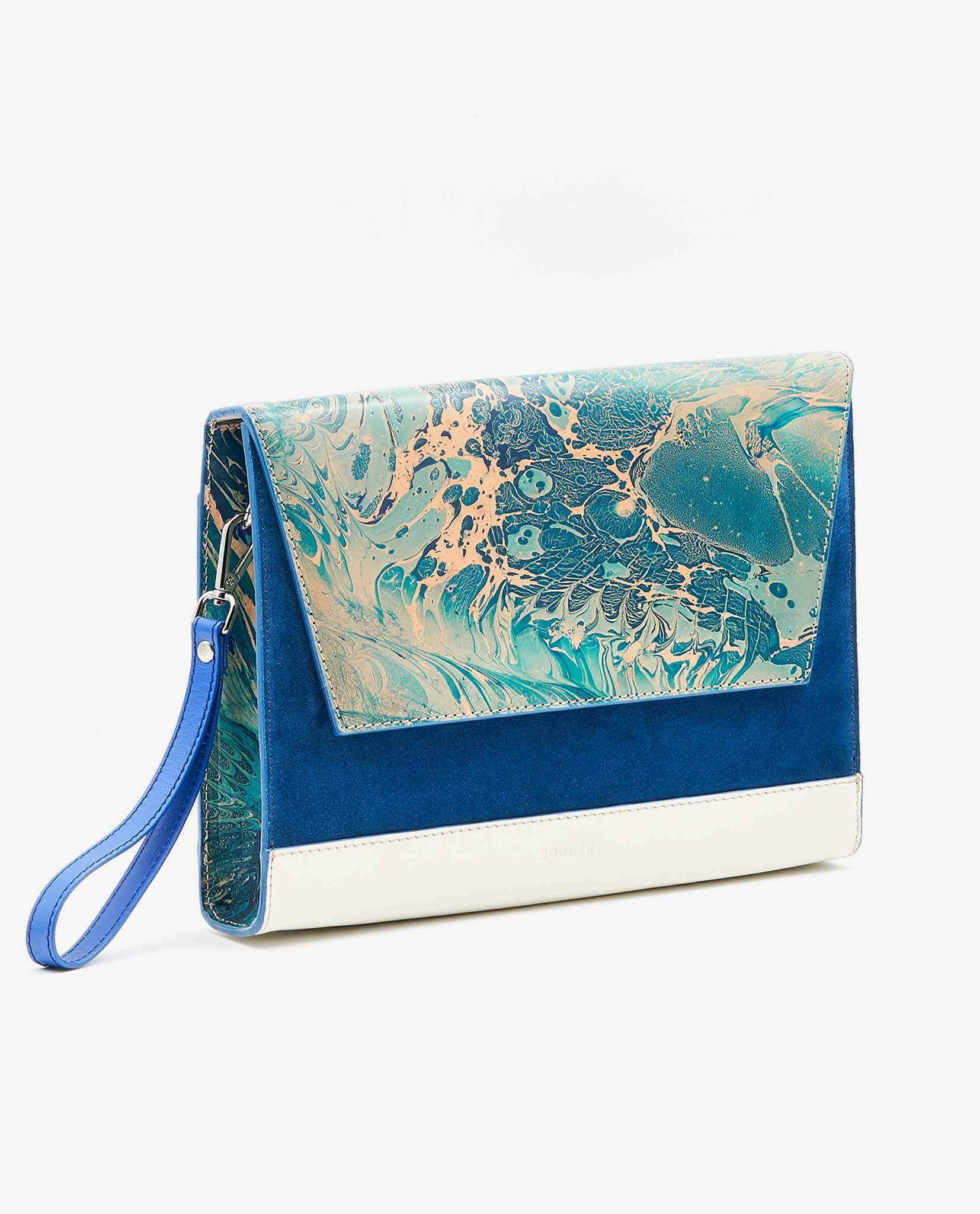 SOOFRE Berlin unique Clutch marble turquoise sapphire blue ivory