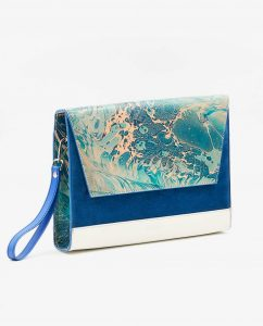 SOOFRE-Berlin-unique-Clutch-marble-turquoise-sapphire-blue-ivory-SIDES