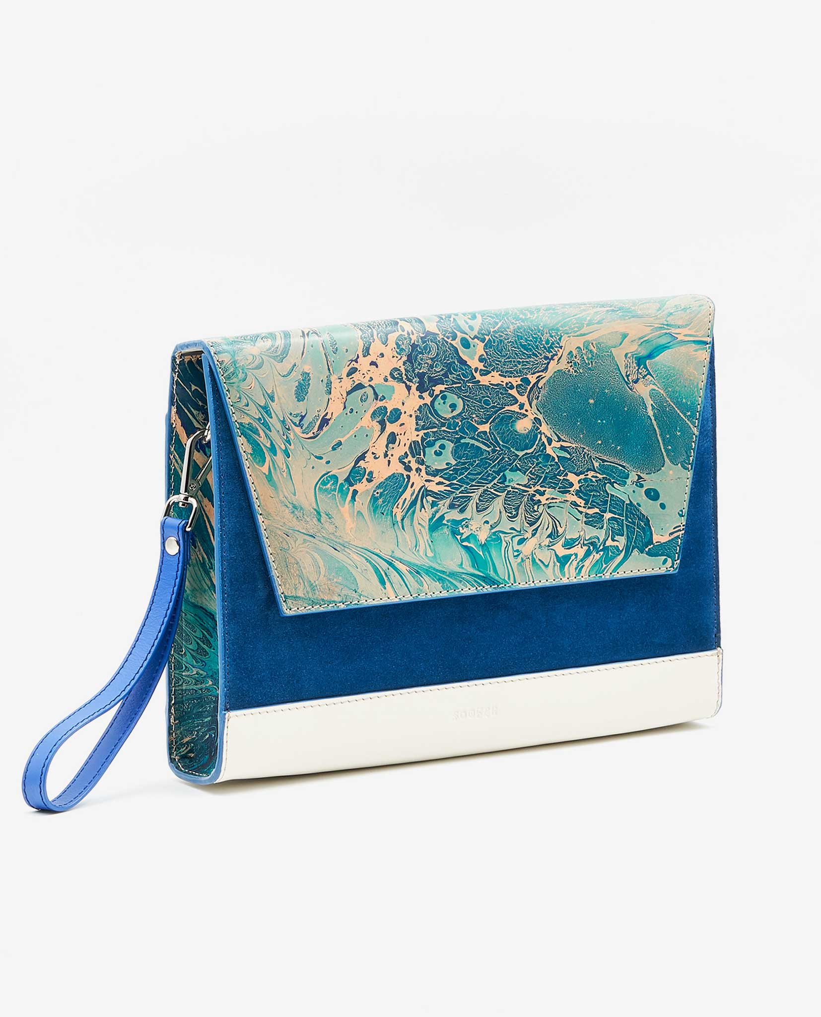 600abad33ac3 Unique Clutch MARLENE – Marble Turquoise   Sapphire Blue   Ivory - SOOFRE