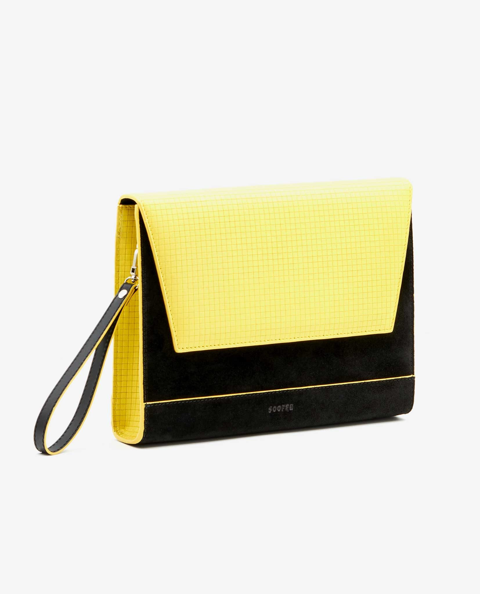 SOOFRE-Berlin-unique-Clutch-squared-yellow-black-SIDES
