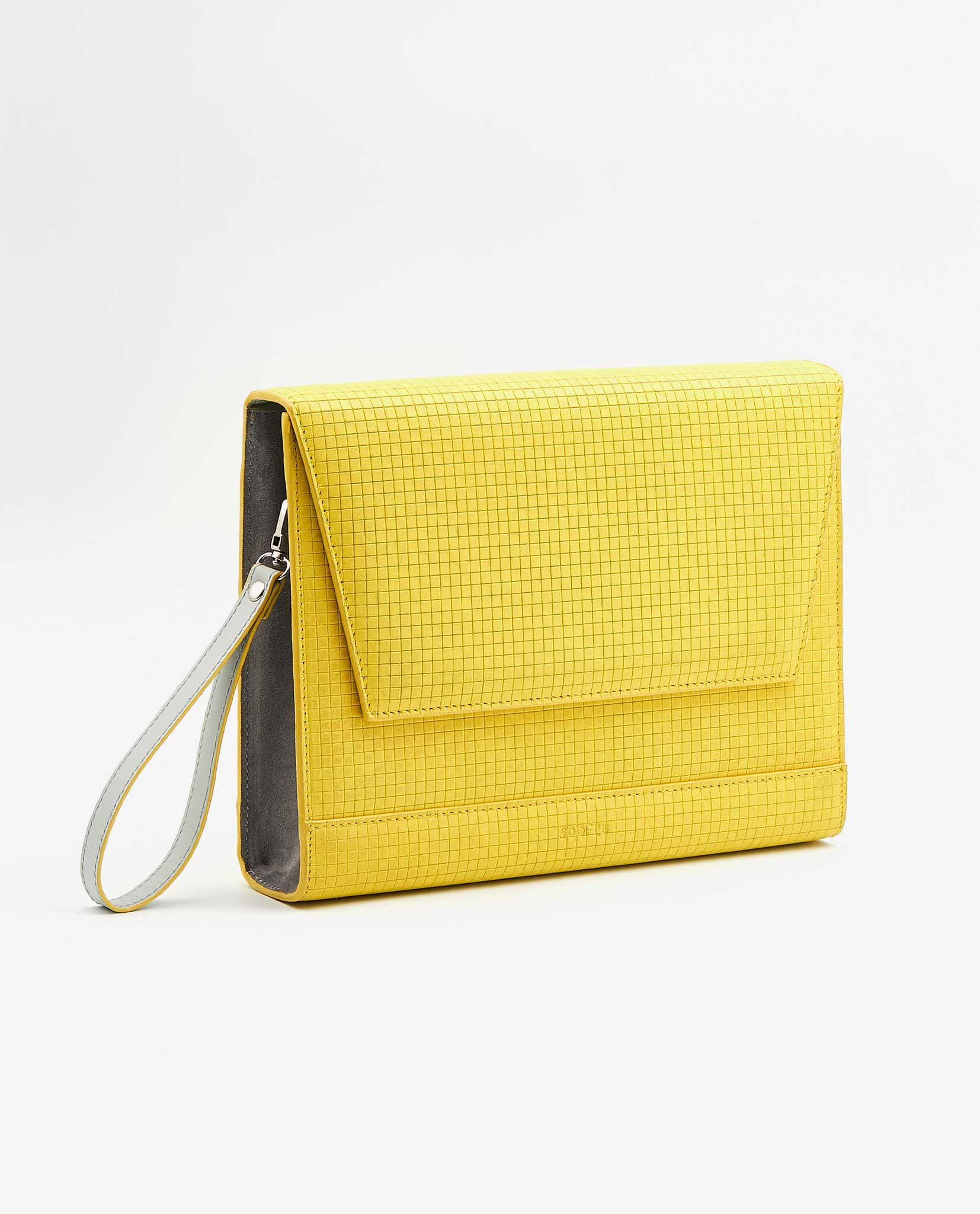 SOOFRE Berlin unique Clutch squared yellow / dove grey