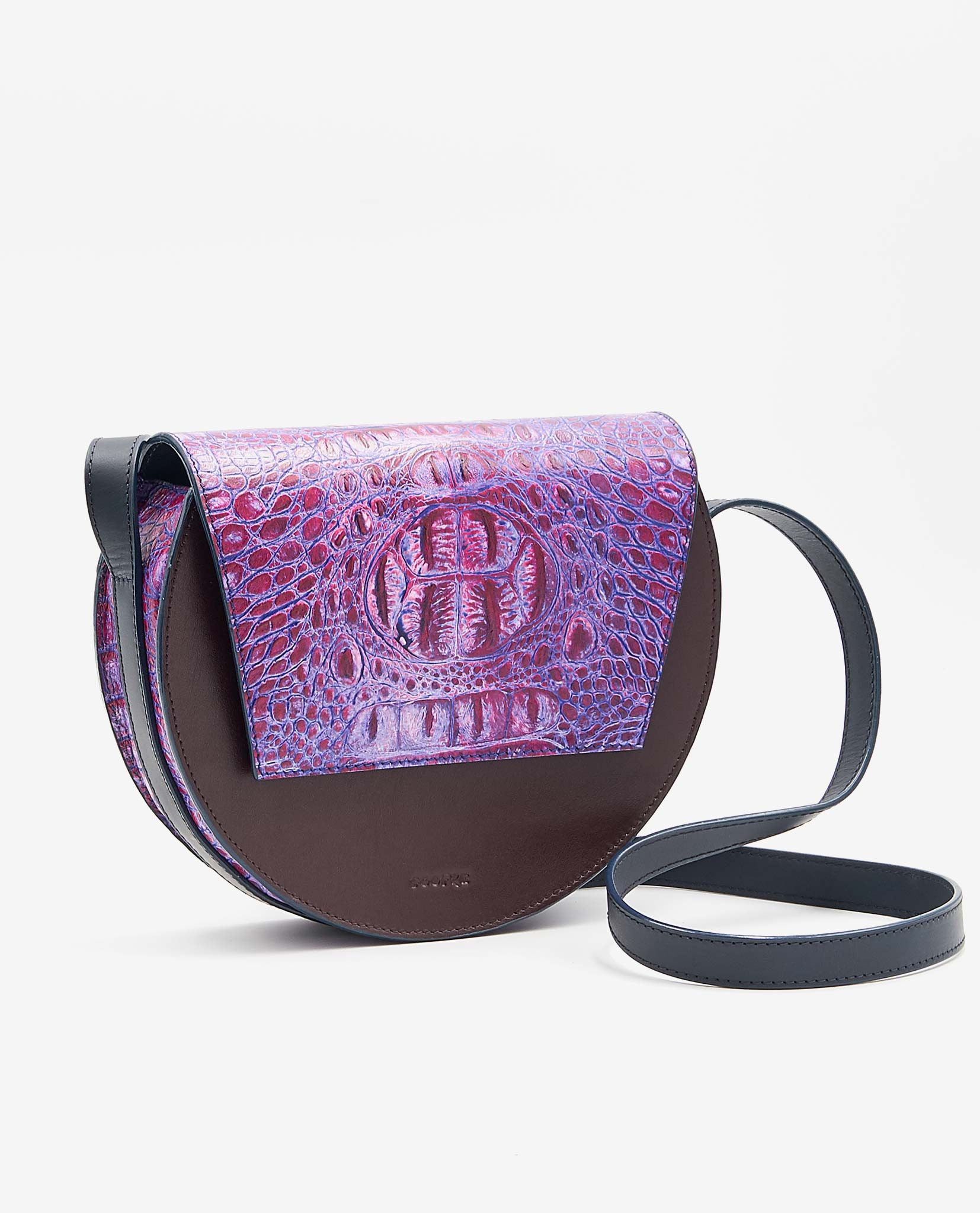 SOOFRE Berlin unique Crossbody Purse croco purple lilac burgundy