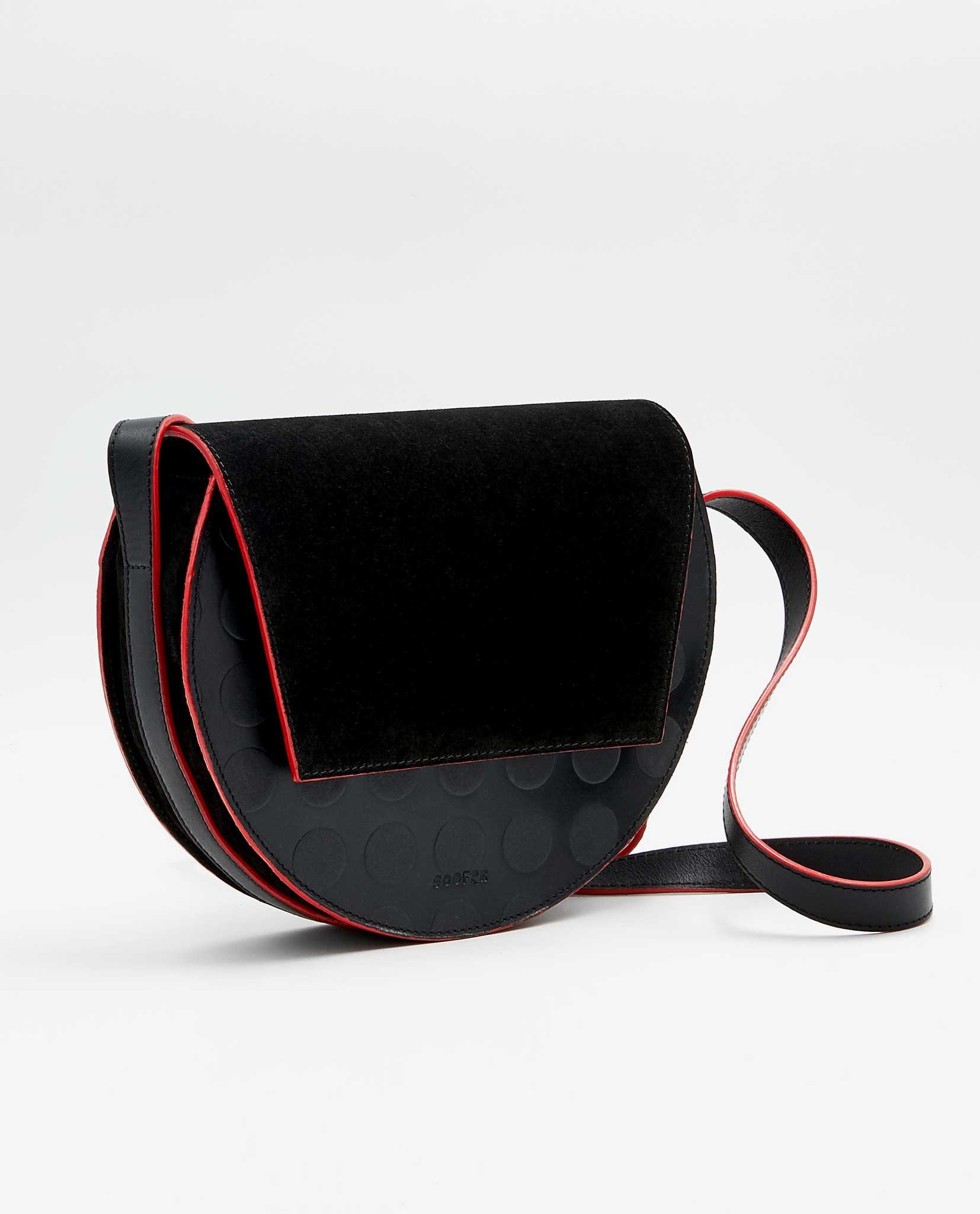 SOOFRE-Berlin-unique-Crossbody-Purse-dotted-black-black-red-SIDES