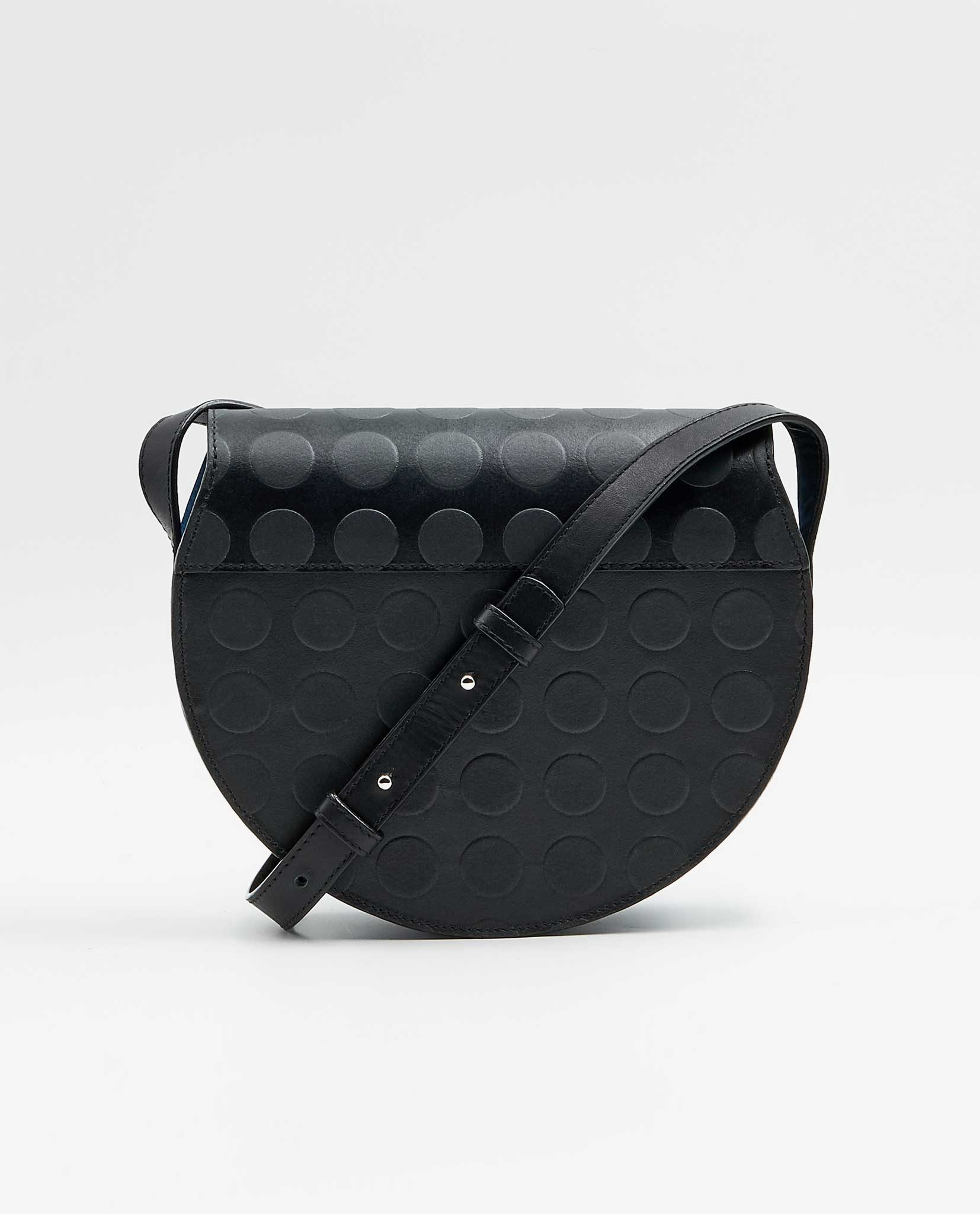 SOOFRE-Berlin-unique-Crossbody-Purse-dotted-black-sapphire-blue-BACK