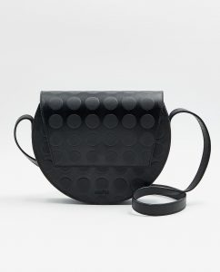 SOOFRE-Berlin-unique-Crossbody-Purse-dotted-black-sapphire-blue-FRONT
