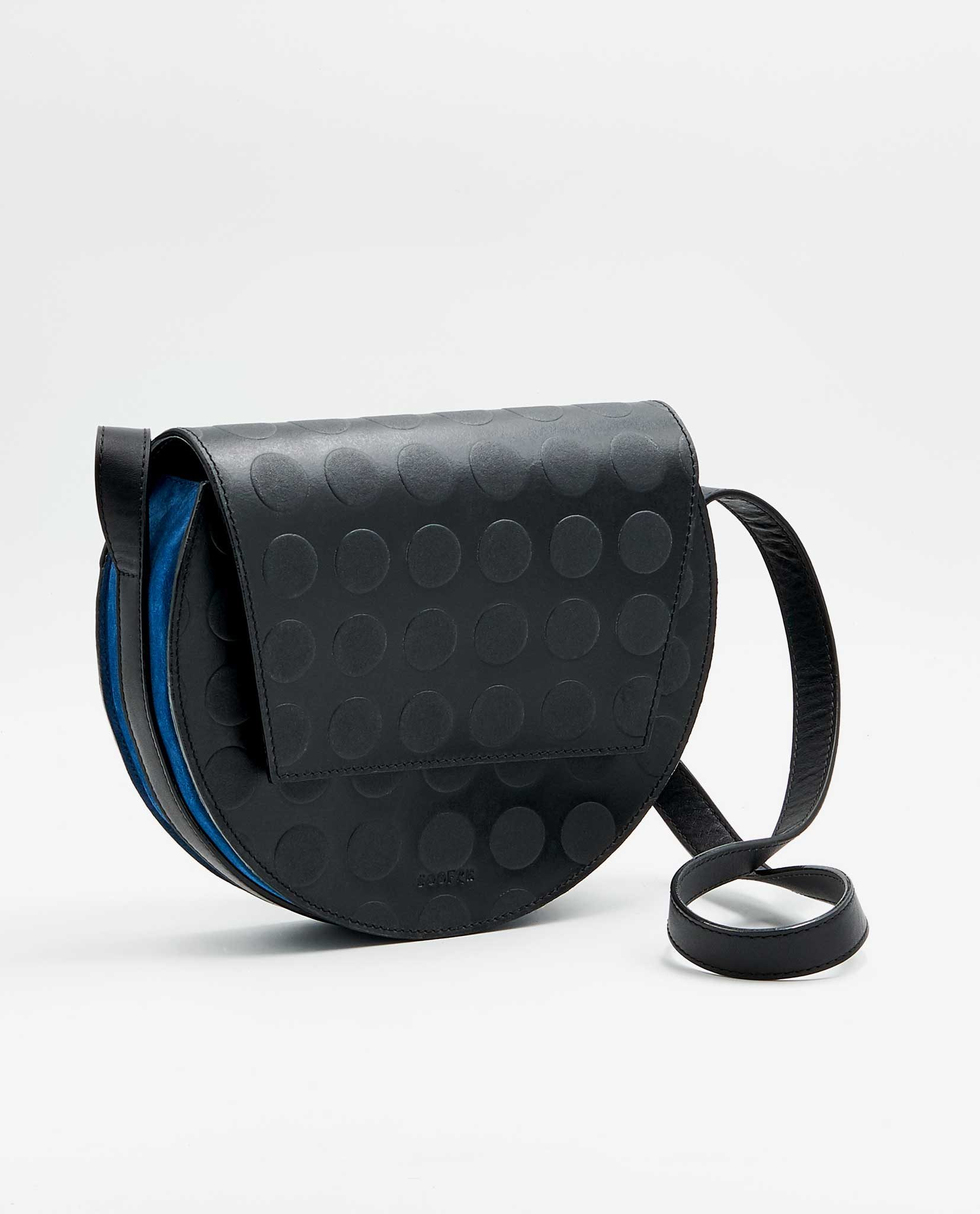 SOOFRE Berlin unique Crossbody Purse dotted black sapphire blue