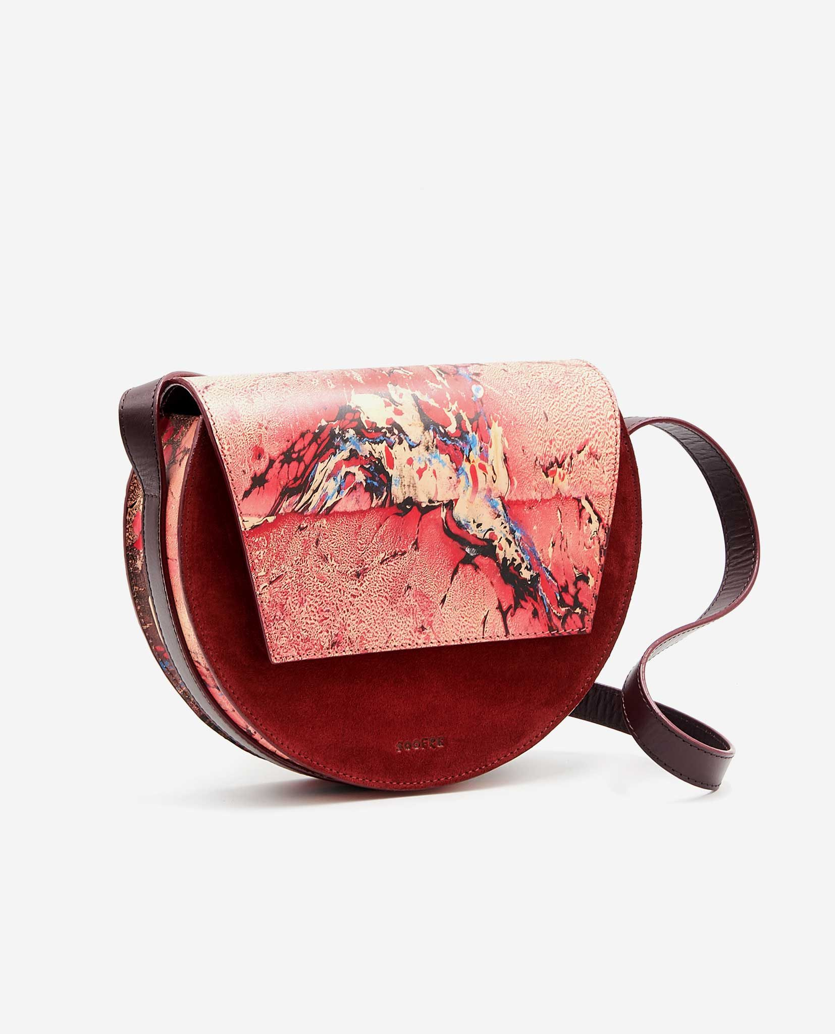 SOOFRE Berlin unique Crossbody Purse marble red burgundy