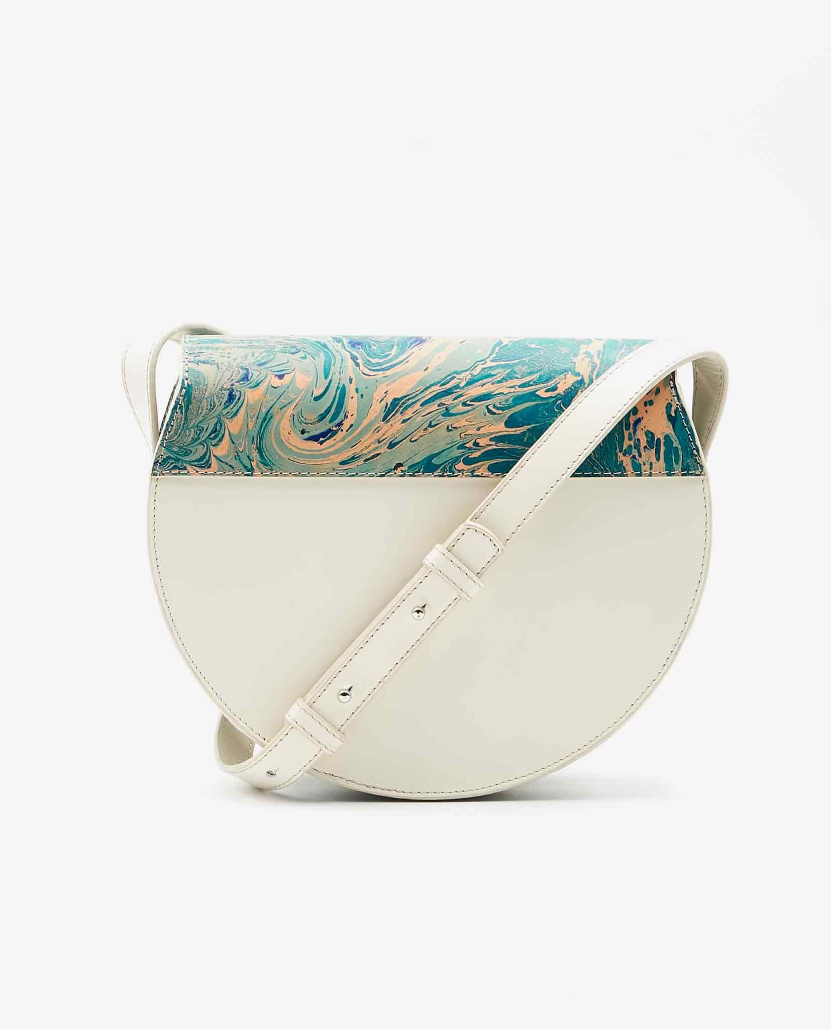 SOOFRE-Berlin-unique-Crossbody-Purse-marble-turquoise-ivory-BACK