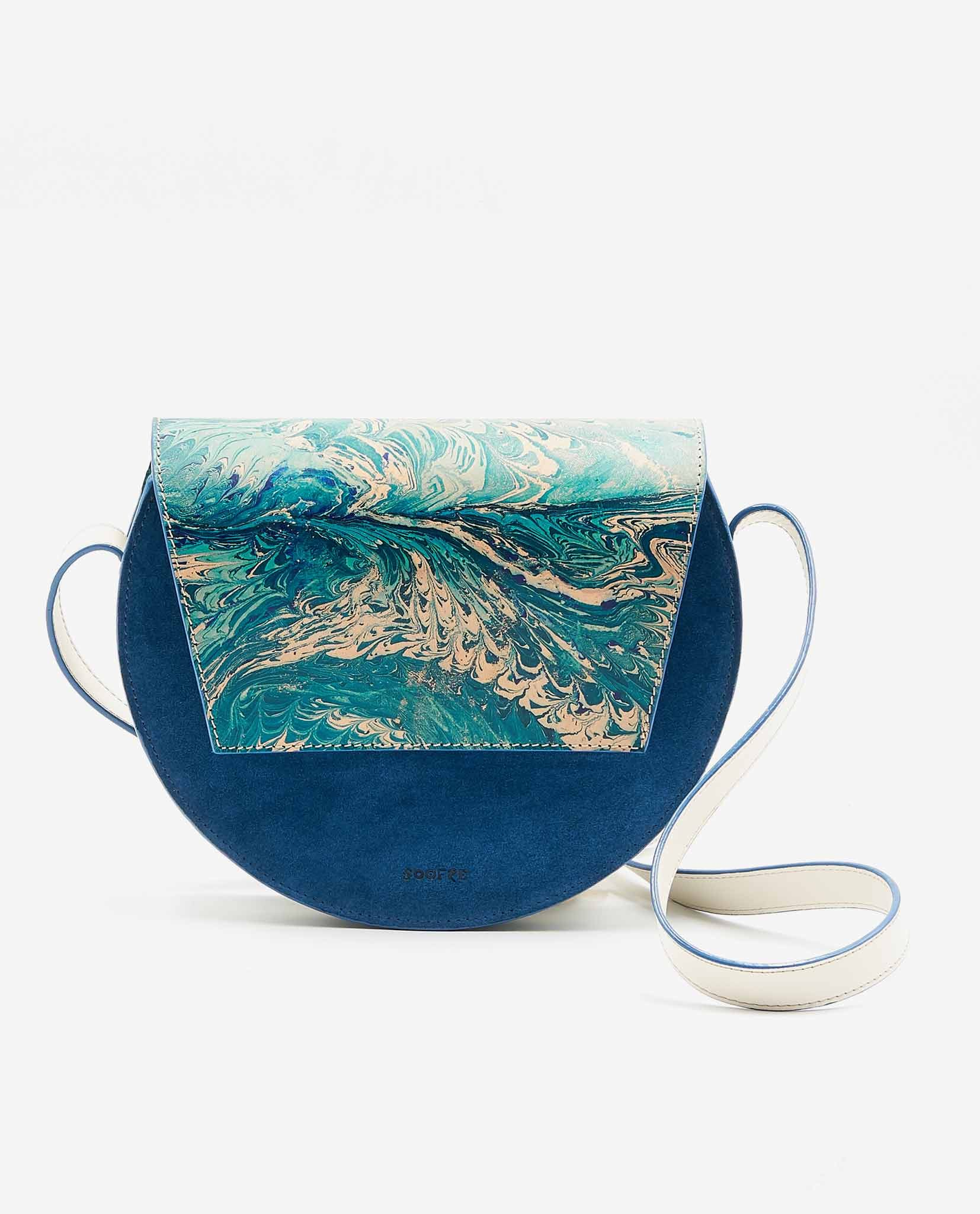 SOOFRE-Berlin-unique-Crossbody-Purse-marble-turquoise-sapphire-blue-FRONT