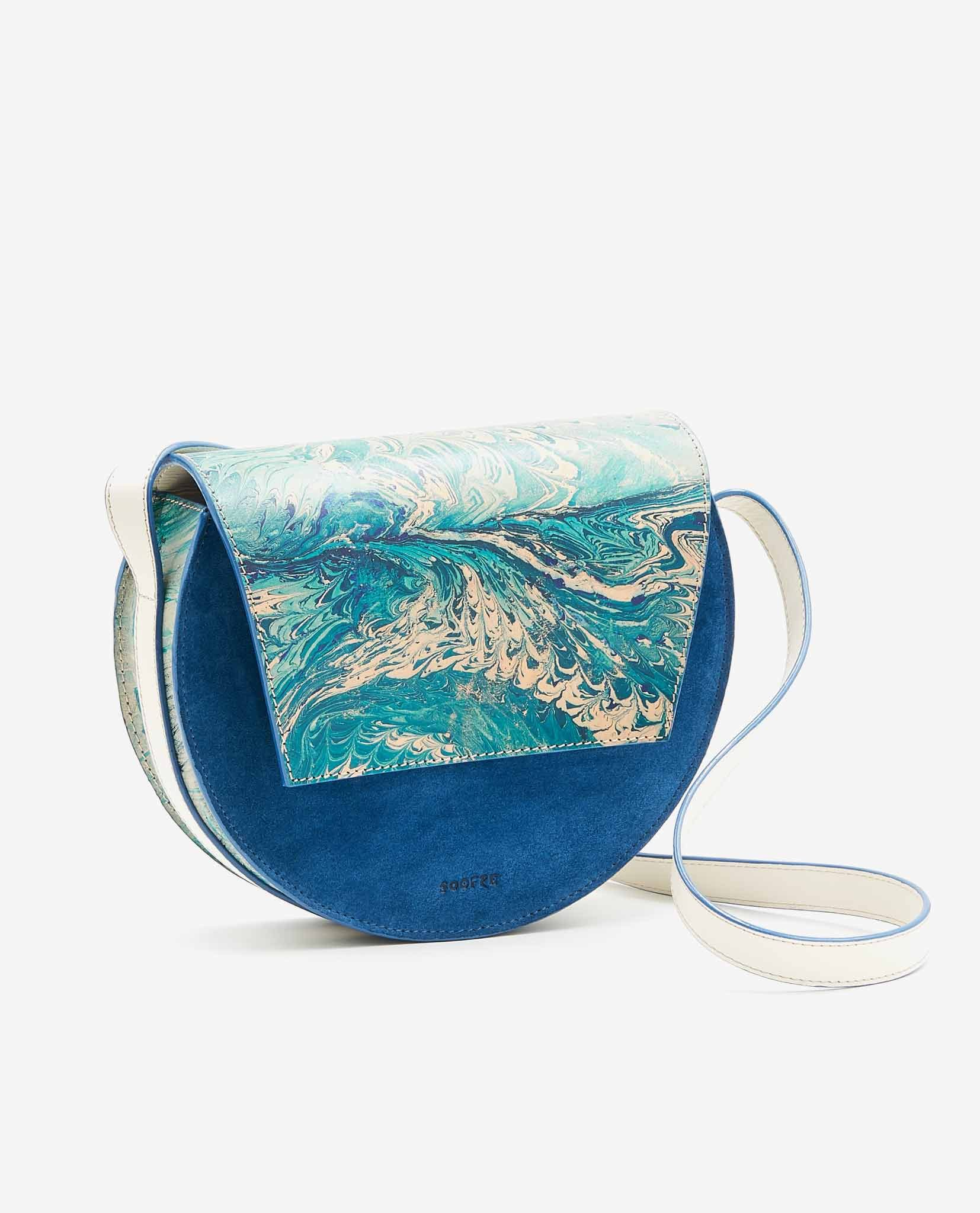 SOOFRE Berlin unique Crossbody Purse marble turquoise sapphire blue