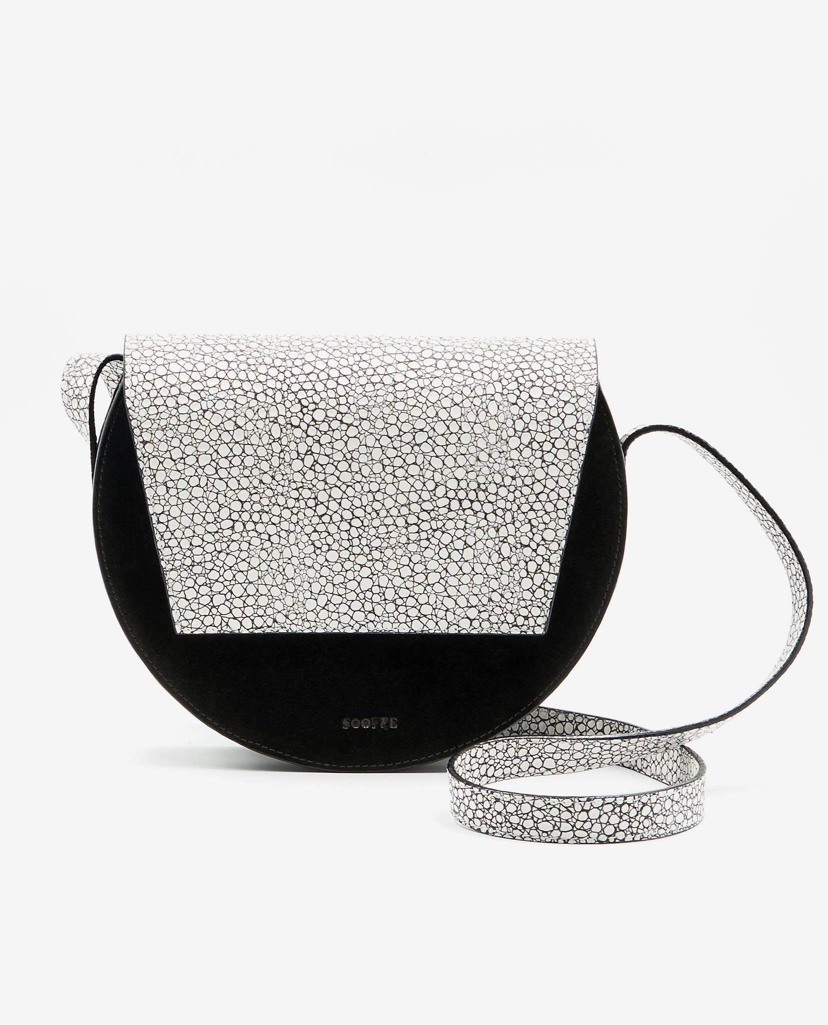 SOOFRE-Berlin-unique-Crossbody-Purse-mini-croco-white-black-FRONT