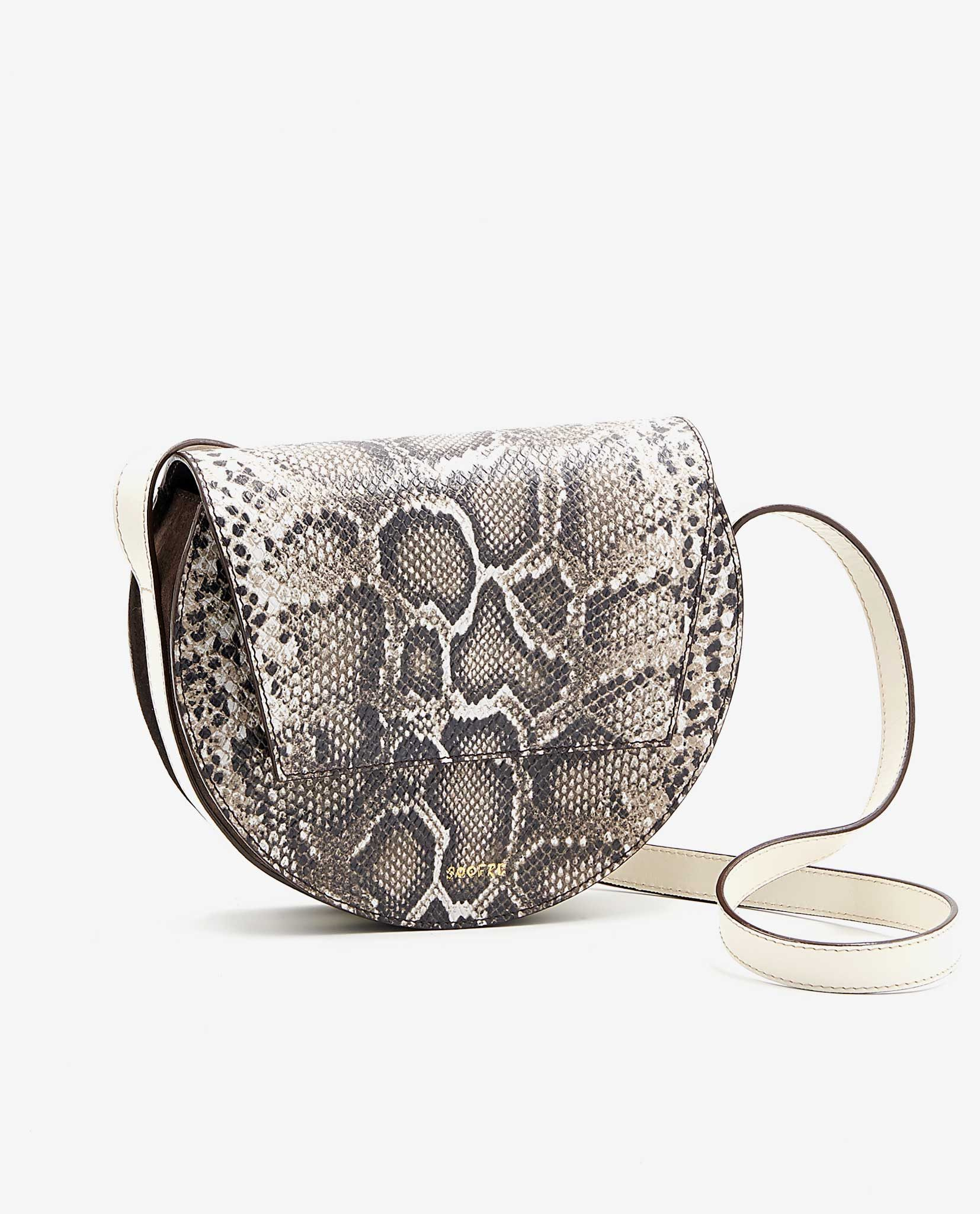 SOOFRE-Berlin-unique-Crossbody-Purse-snake-brown-ivory-SIDES