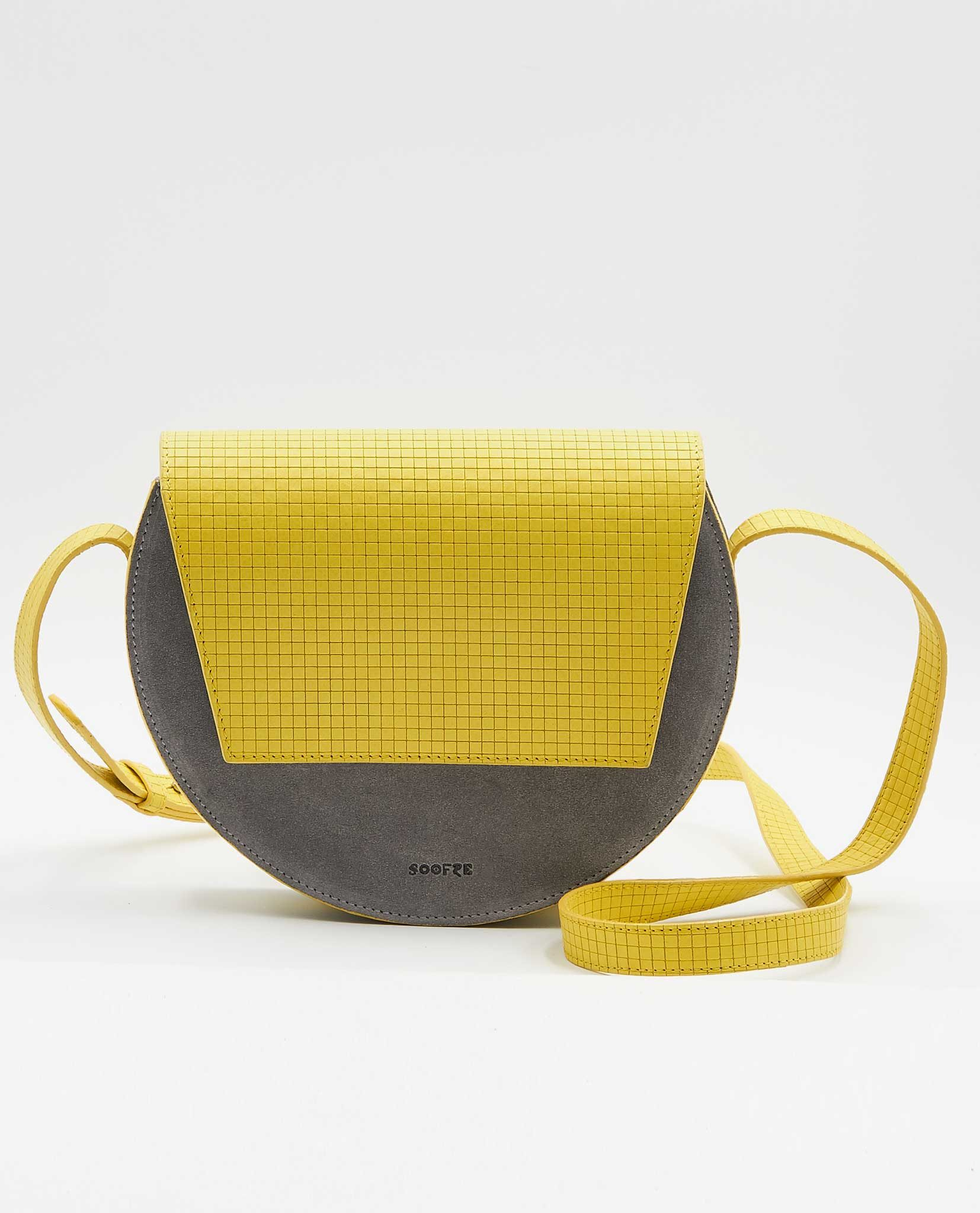 SOOFRE-Berlin-unique-Crossbody-Purse-squared-yellow-dove-grey-FRONT