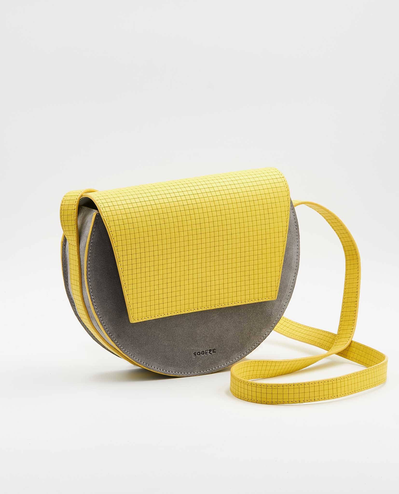 SOOFRE Berlin unique Crossbody Purse squared yellow / dove grey