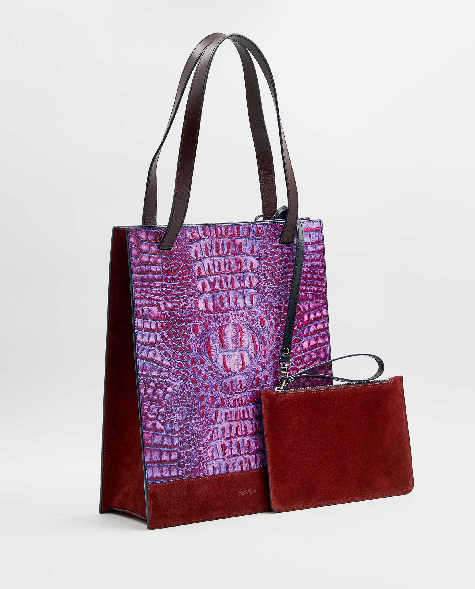 SOOFRE Berlin unique Croco Shopper Bag purple lilac burgundy