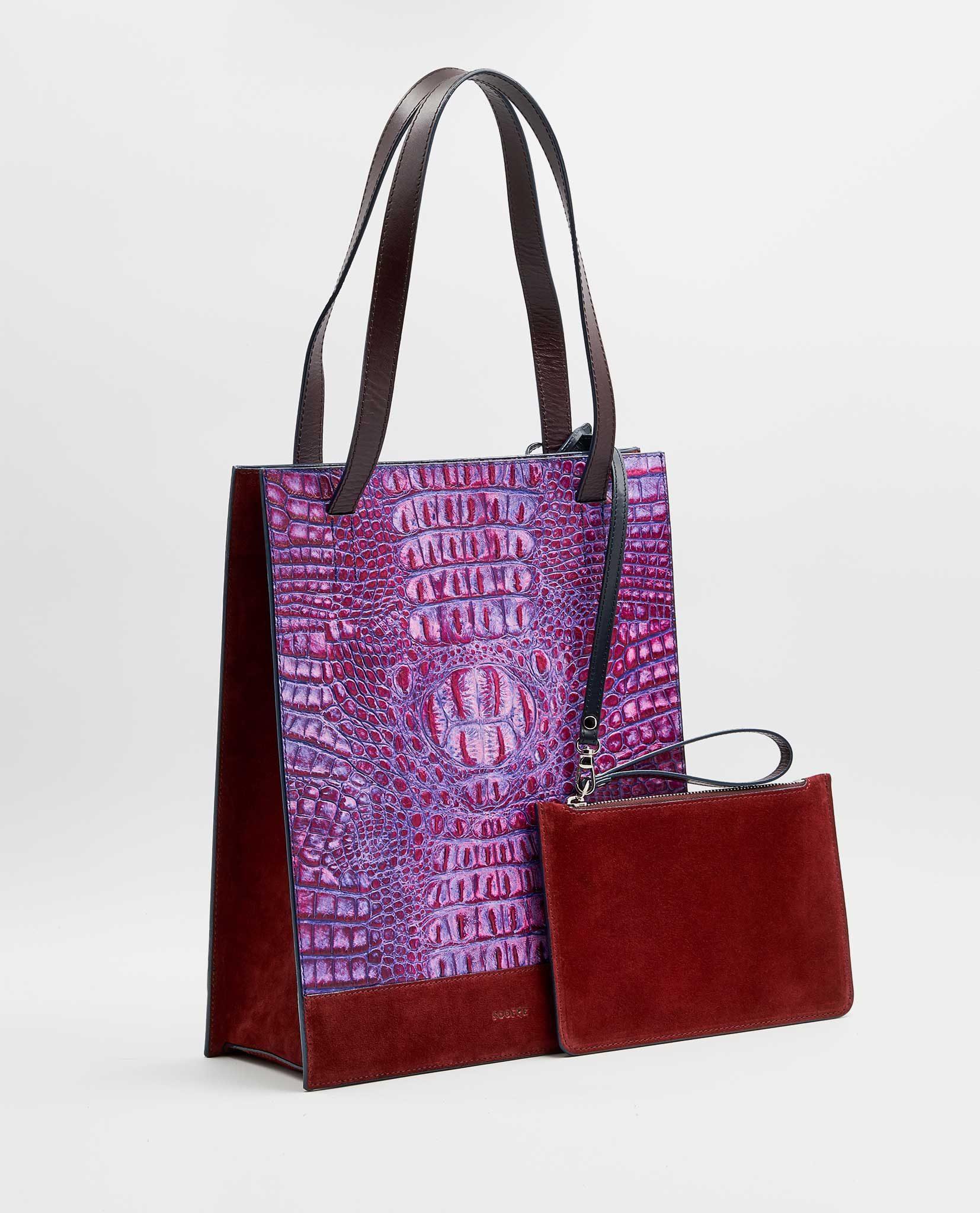 SOOFRE-Berlin-unique-Shopper-Bag-croco-purple-lilac-burgundy-SIDES