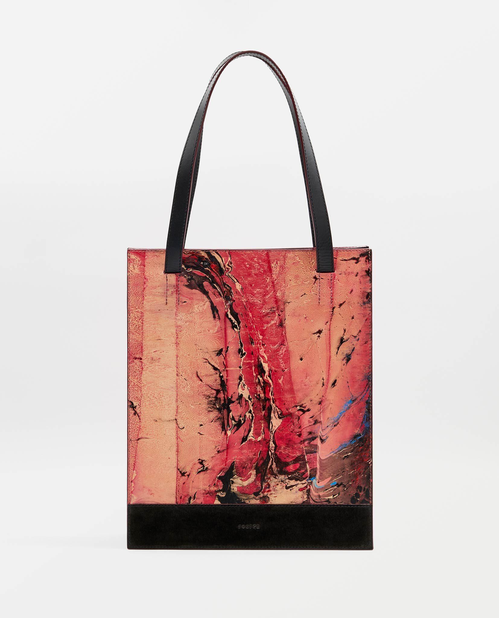 SOOFRE-Berlin-unique-Shopper-Bag-marble-red-black-FRONT
