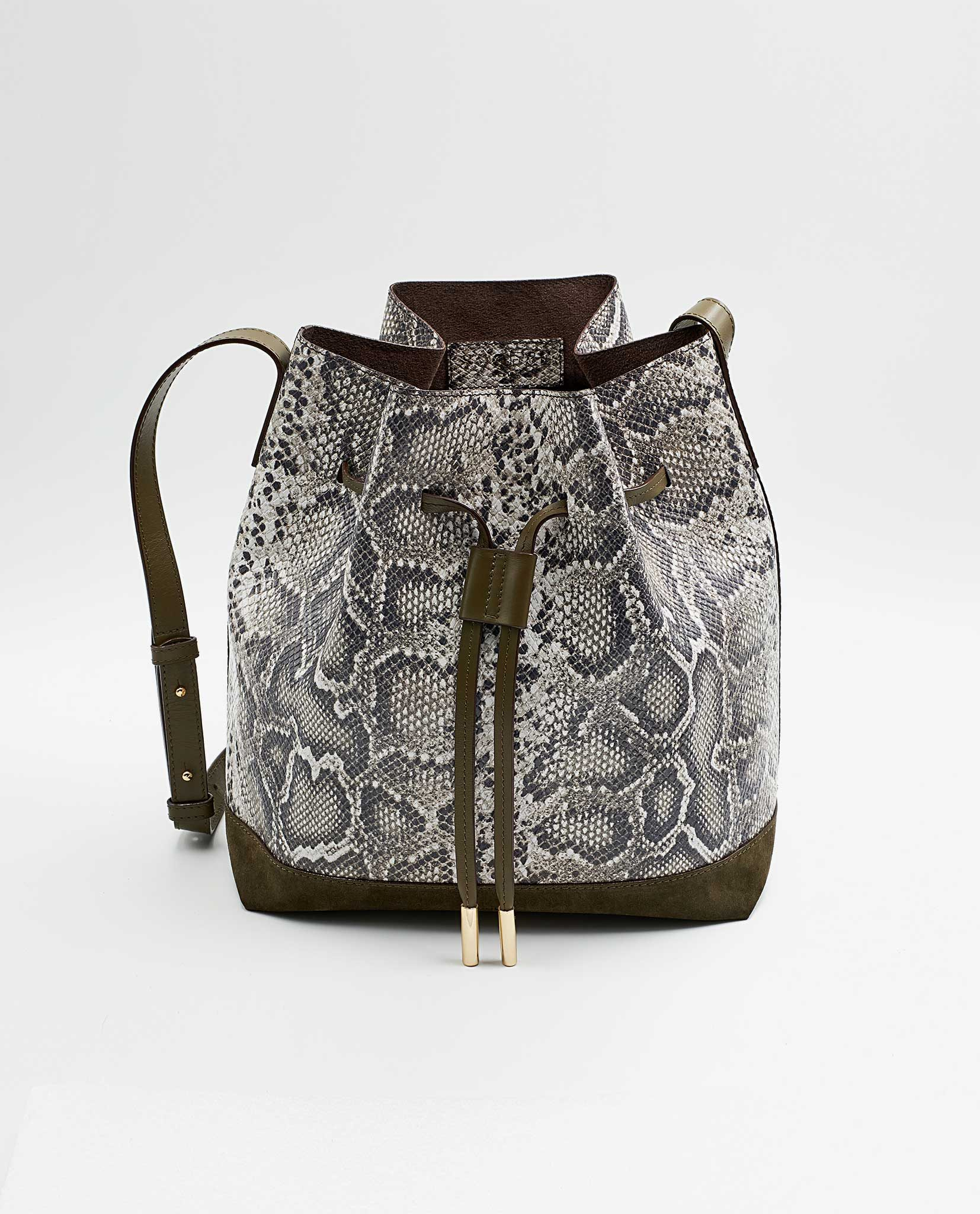 SOOFRE-Berlin-unique-Bucket-Bag-snake-brown-Khaki-FRONT