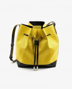SOOFRE-Berlin-unique-Bucket-Bag-squared-yellow-black-FRONT