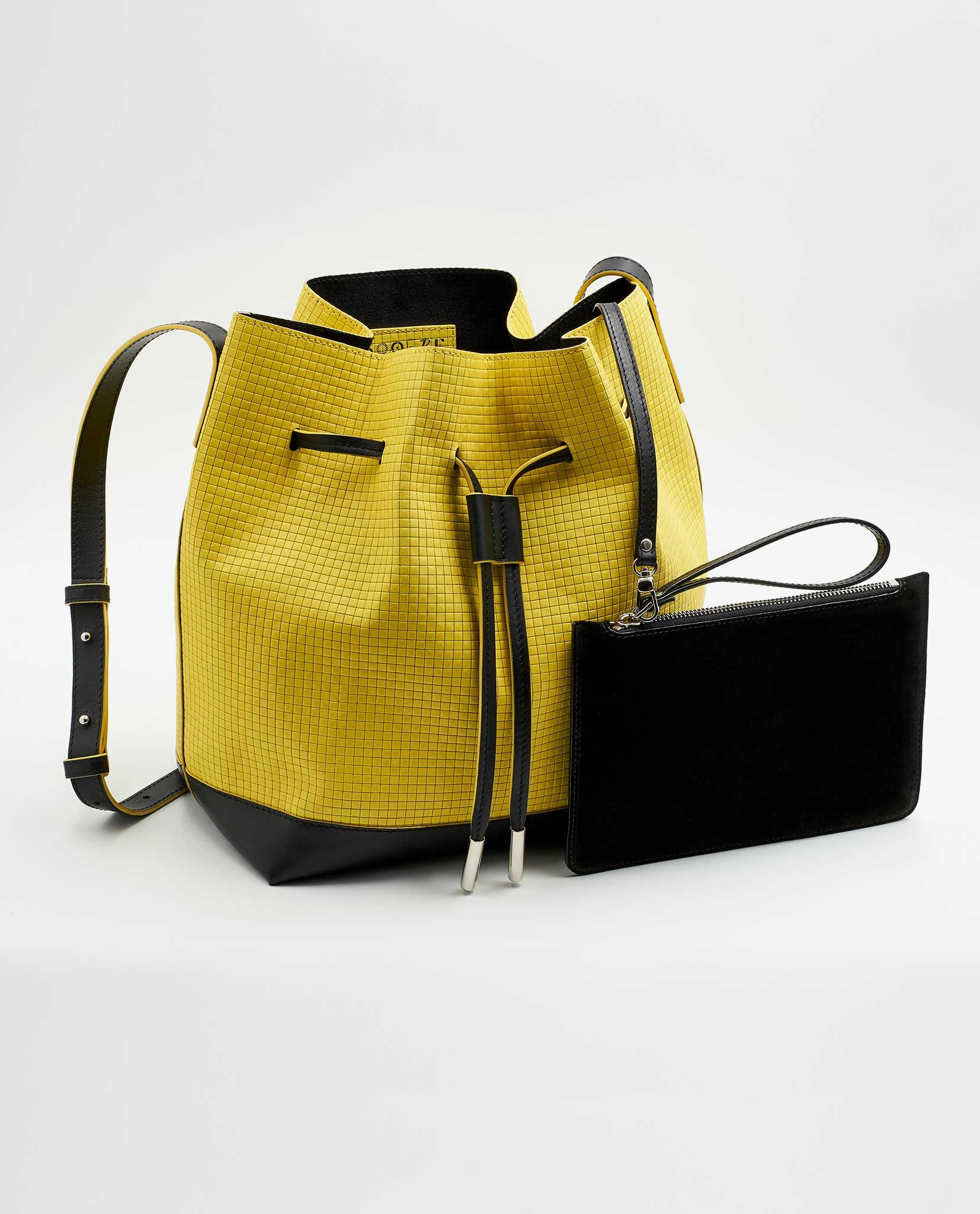SOOFRE Berlin unique Bucket Bag squared yellow black