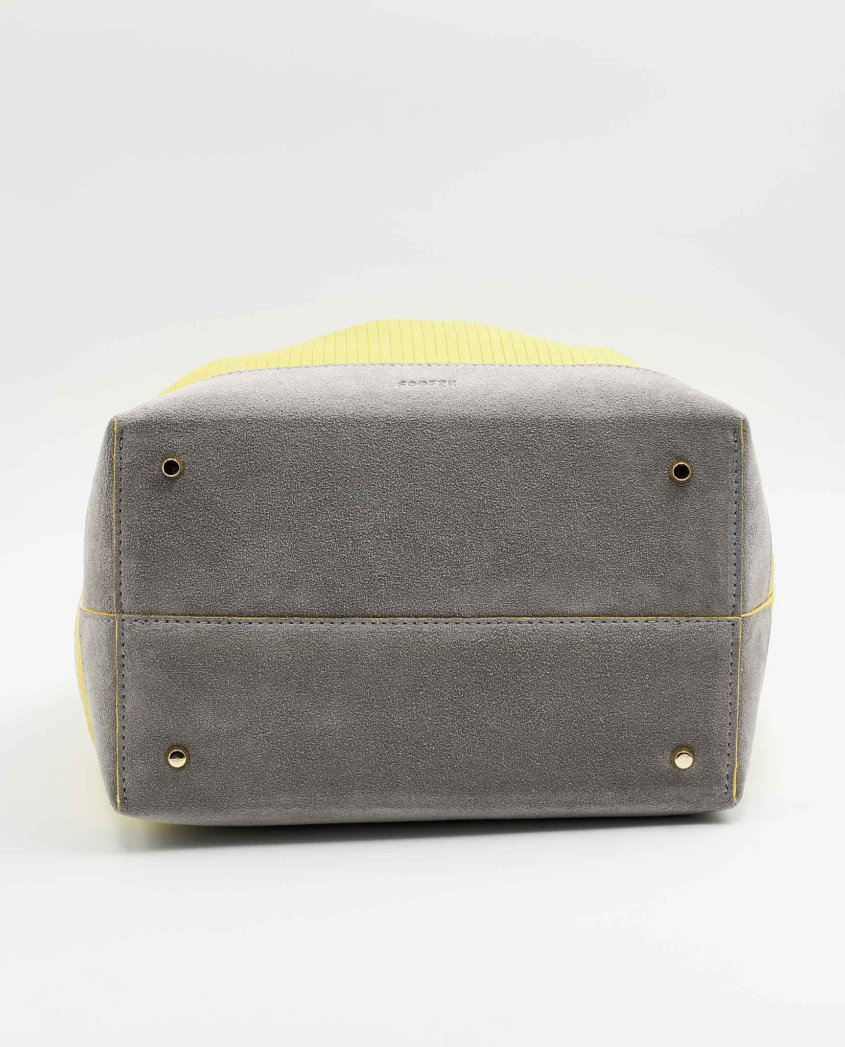 SOOFRE-Berlin-unique-Bucket-Bag-squared-yellow-dove-grey-BOTTOM