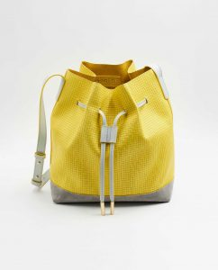 SOOFRE-Berlin-unique-Bucket-Bag-squared-yellow-dove-grey-FRONT