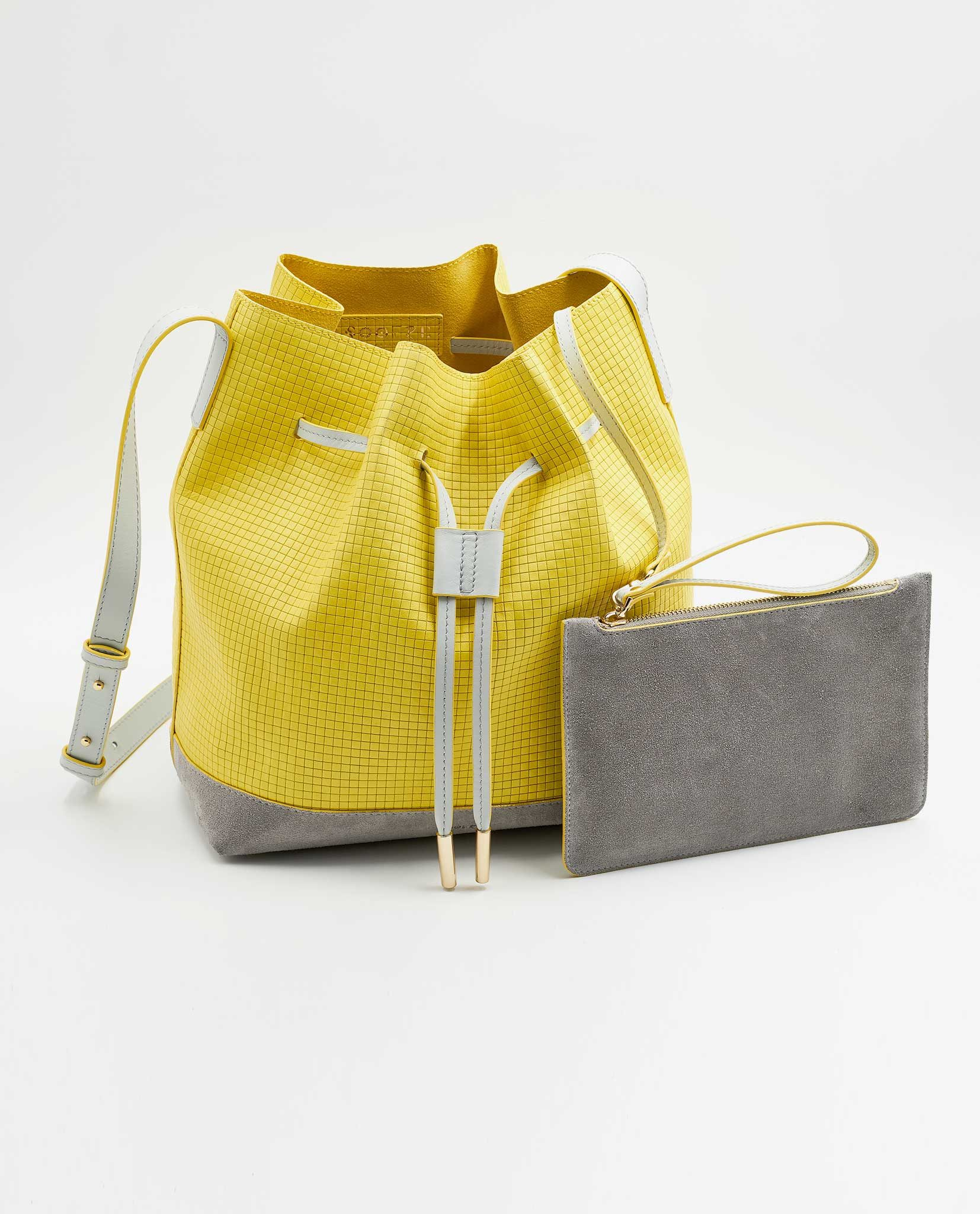 SOOFRE Berlin unique Bucket Bag squared yellow dove grey